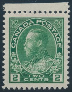 Lot 269, Canada 1923 two cent green Admiral, dry printing, XF NH sheet margin single, sold for C$149