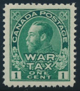 Lot 314, Canada 1915 one cent green Admiral War Tax, VF NH, sold for C$138