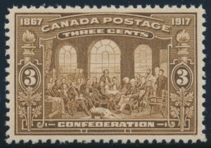 Lot 336, Canada 1917 three cent brown Fathers of Confederation, XF NH, sold for C$345