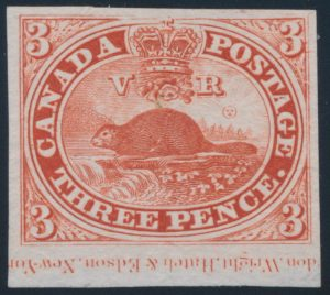 Lot 4, Canada 1851 three penny beaver proof in red on india paper, sold for C$316
