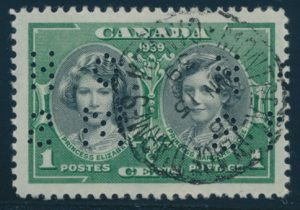 Lot 470, Canada 1939 one cent Princesses 4-hole OHMS official, XF used, sold for C$115
