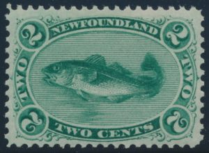 Lot 687, Newfoundland two cent green Codfish on thin yellowish paper, VF NH, sold for $4140
