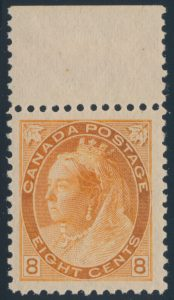 Lot 221, Canada 1898 eight cent orange Numeral, XF NH, sold for $1840