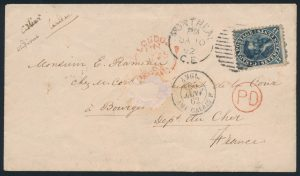 Lot 1025, Canada 1862 seventeen cent Cartier on cover from Montréal to Bourges France, sold for C$800
