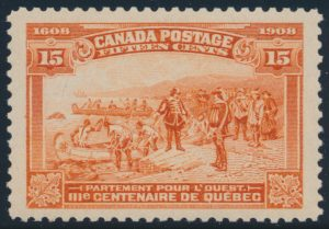 Lot 255, Canada 1908 fifteen cent orange Québec Tercentenary, XF NH, sold for C$977