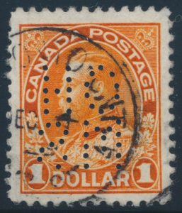 Lot 473, Canada 1912 one dollar Admiral 5-hole OHMS wet printing VF used, sold for C$345