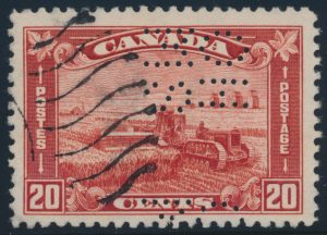 Lot 484, Canada 1930 twenty cent Harvesting Wheat 5-hole OHMS VF used, sold for C$207