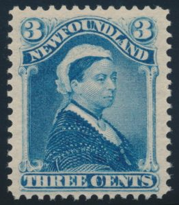 Lot 706, Newfoundland 1896 three cent pale blue Victoria, VF NH, sold for C$833