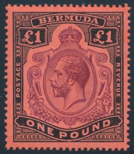 Lot 805, Bermuda 1910 one pound KGV, F-VF NH, sold for C$373