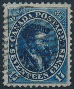 Lot 58, Canada seventeen cent blue Cartier, XF used with grid cancel, sold for C$488