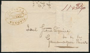 Lot 1102, Canada 1817 stampless folded letter Niagara to Gananaqui River