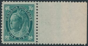 Lot 200, Canada 1897 one cent blue green Leaf, XF NH with sheet margin, sold for C$230