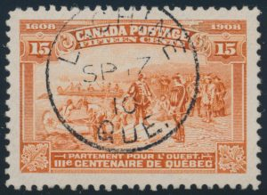 Lot 256, Canada 1908 fifteen cent orange Tercentenary, used with Lachine c.d.s., sold for C$230