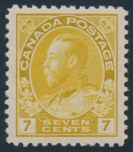 Lot 277, Canada 1916 seven cent yellow ochre Admiral, VF NH, sold for C$218
