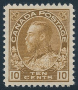 Lot 288, Canada 1925 ten cent yellow brown Admiral, XF NH, sold for C$230