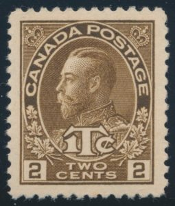 Lot 326, Canada 1916 2c + 1c brown Admiral War Tax, XF NH, sold for C$264