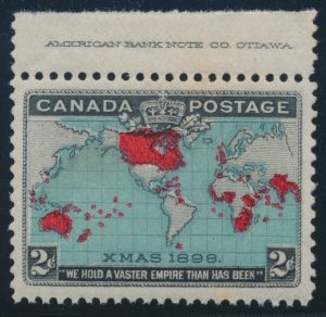 Lot 337, Canada 1898 two cent Map stamp with inscription in selvedge, VF NH