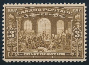 Lot 337, Canada 1917 three cent brown Fathers of Confederation, XF NH, sold for C$253