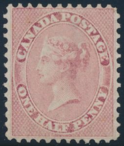 Lot 47, Canada 1858 half pence rose Victoria, VF unused, perf 11-3/4