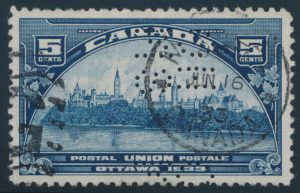 Lot 493, Canada 1933 five cent UPU Meeting 5-hole OHMS Official, VF, sold for C$172