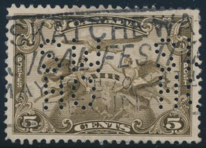 Lot 509, Canada 1928 five cent Airmail Official, 5-hole OHMS, VF used, sold for C$373