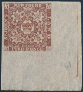 Lot 685, Newfoundland three pence reddish brown Heraldic, VF NH, sold for C$195