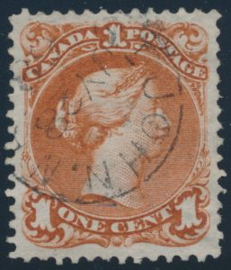 Lot 69, Canada 1868 one cent brown red Large Queen, used with Saint John NB town cancel, sold for C$184