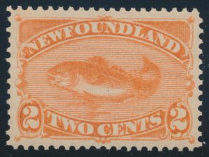 Lot 704, Newfoundland 1880 two cent orange red Codfish, VF NH, sold for C$253