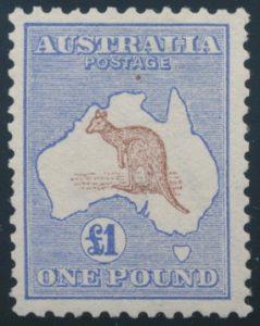 Loto 821, Australia 1913 one pound ultramarine and brown Kangaroo, VF lightly hinged