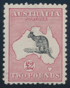 Lot 822, Australia 1913 two pound deep rose and black Kangaroo, mint F-VF