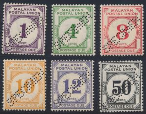 Lot 846, Malaya 1936 Postage Dues with diagonal SPECIMEN perf, F-VF NH, sold for C$253