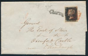 Lot 865, Great Britain 1840 penny black on folded letter with Maltese Cross and Charing Cross straightline