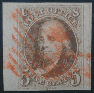 Lot 1064, USA 1847 five cent red brown Franklin, XF used with red grid cancels