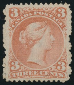 Lot 114, Canada 1868 three cent red Large Queen, VF ng