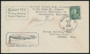 Lot 1145, Canada 1930 Airship cover Montreal to England