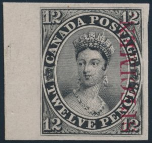 Lot 21, Canada 1851 twelve penny black plate proof, VF