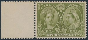 Lot 247, Canada 1897 five dollar olive green Jubilee, XF NH