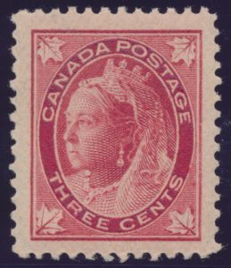 Lot 257, Canada 1898 three cent carmine Leaf, XF NH