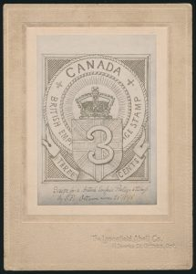 Lot 312, Sir Sanford Fleming's Essay for rejected three cent stamp