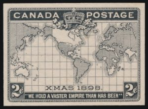 Lot 314, Canada 1898 two cent Map die proof in black