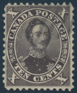 Lot 66, Canada 1859 ten cent black brown Consort, used single from first printing