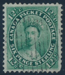 Lot 79, Canada 1859 twelve and a half cent green Victoria, XF used with light grid cancel