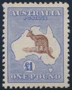 Lot 827, Australia 1916 one pound ultramarine and brown Kangaroo, VF hinged