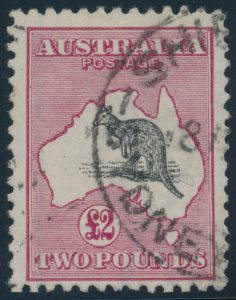 Lot 829, Australia 1919 two pound deep rose and black Kangaroo, used c.d.s