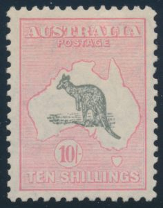 Lot 834, Australia 1929 ten shilling pink and gray Kangaroo, F-VF lightly hinged