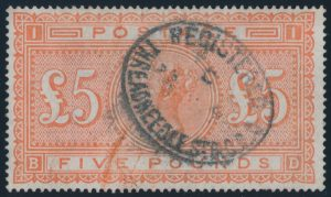 Lot 889, Great Britain 1882 five pound bright orange, VF used