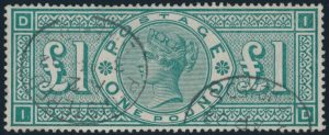 Lot 895, Great Britain 1891 one pound green Victoria, VF, registration cancels