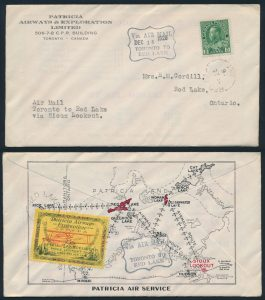 "Lot 1186, Canada 1926 Patricia Airways Cover with ""FED"" signature"