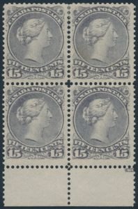 Lot 123, Canada 1868 fifteen cent slate violet Large Queen mint VF block of four, sold for C$489