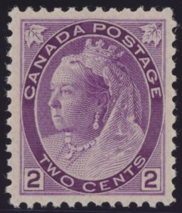 Lot 280, Canada 1898 two cent purple Numeral Die I, XF NH, sold for C$345